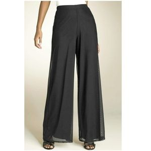 TADESHI Black Wide Leg Palazzo Stretch Mesh Pants